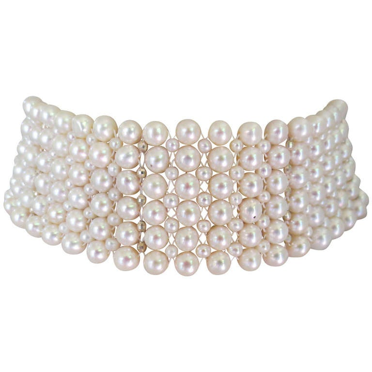 woven pearl choker with rhodium plated silver faceted
