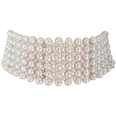 Woven Pearl Tall Choker with Rhodium Plated Silver Faceted Beads and Clasp
