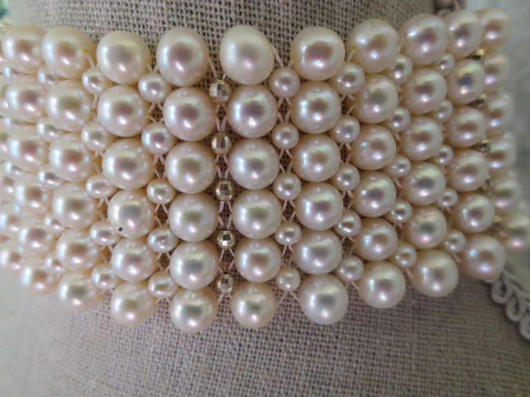 Woven Pearl Tall Choker w. Rhodium Plated Silver Faceted Beads & Clasp 2