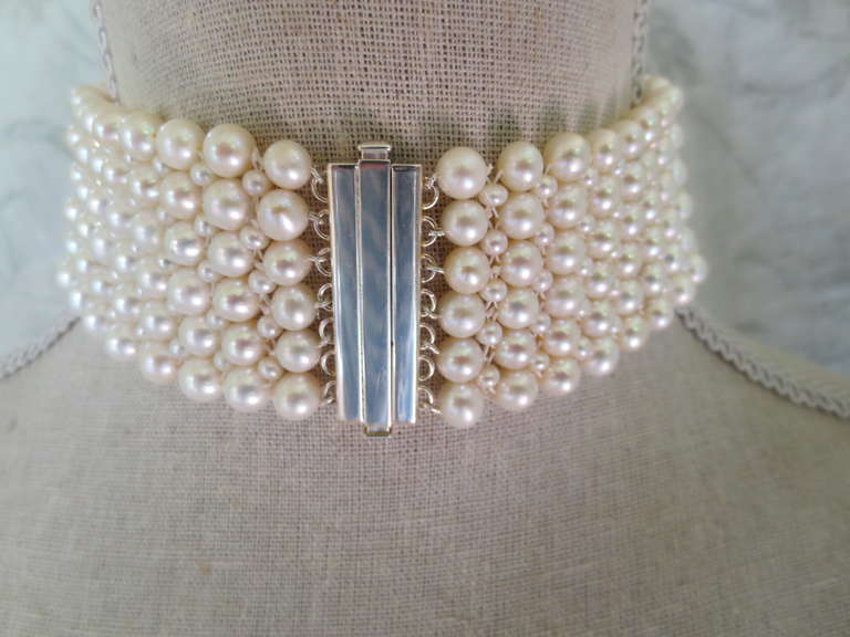 Woven Pearl Tall Choker w. Rhodium Plated Silver Faceted Beads & Clasp 3