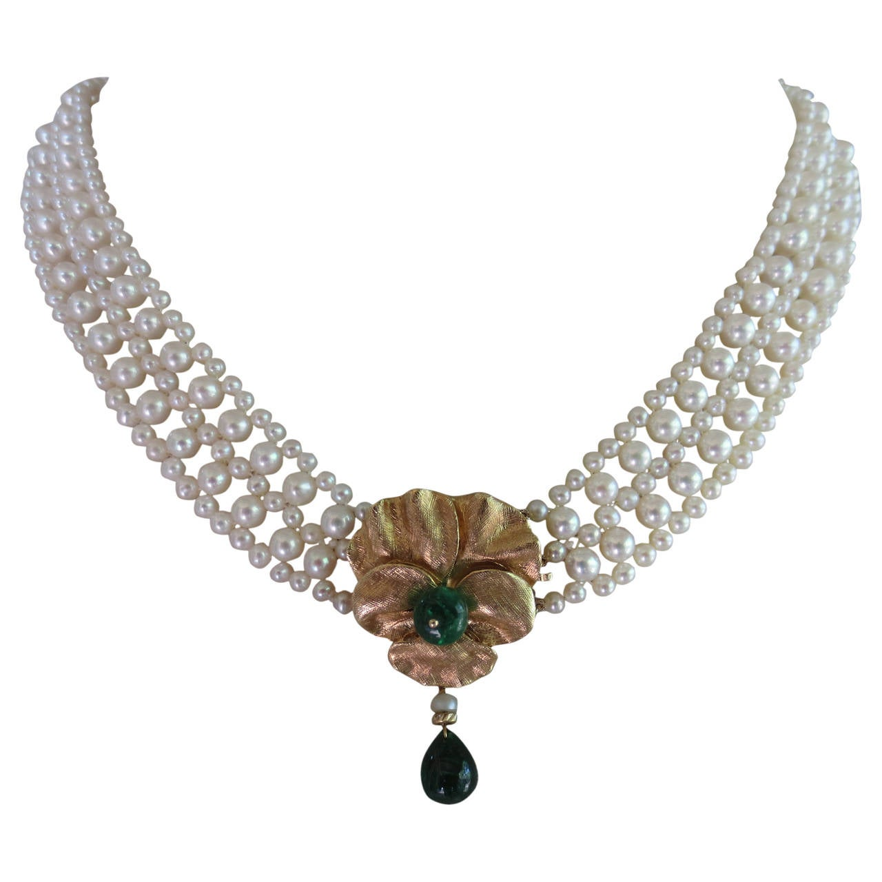 Marina J Woven Pearl Necklace With Emerald Yellow Gold Floral Centerpiece 1