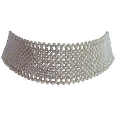 Marina J. Pearl Intricately Woven Choker Necklace