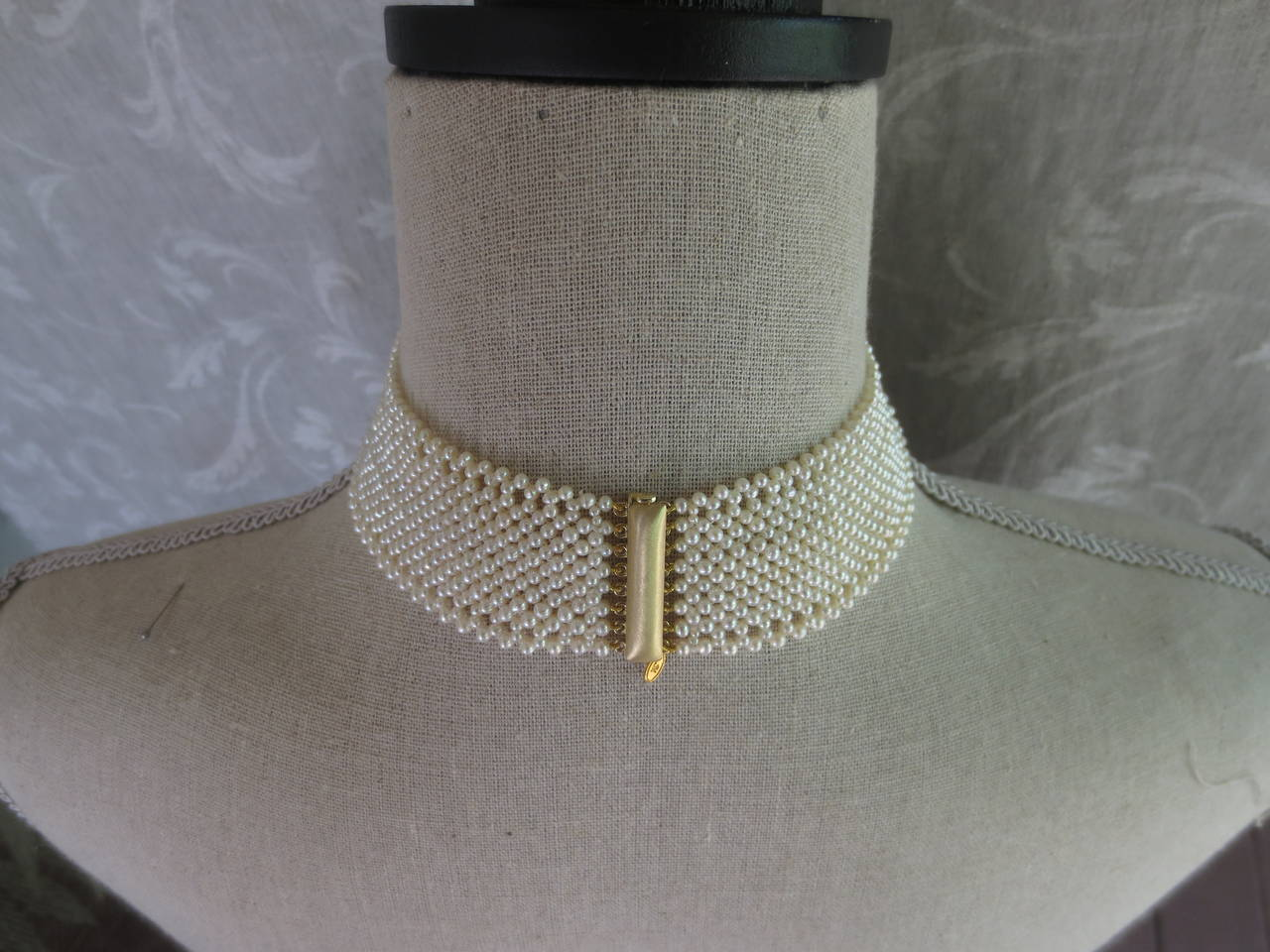 Marina J. Woven Pearl Choker Necklace For Sale 2