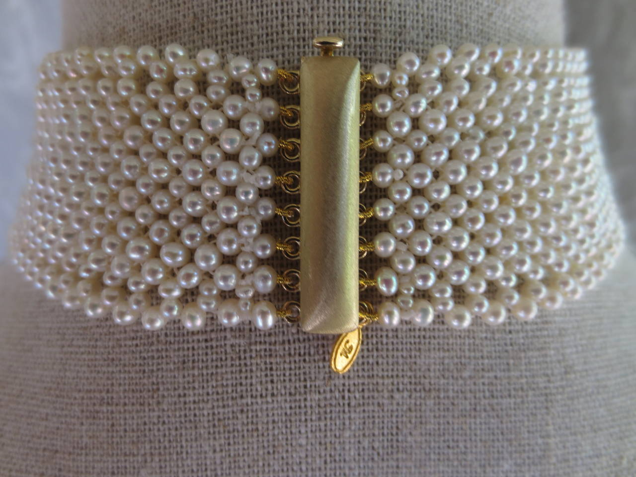Marina J. Woven Pearl Choker Necklace For Sale 1