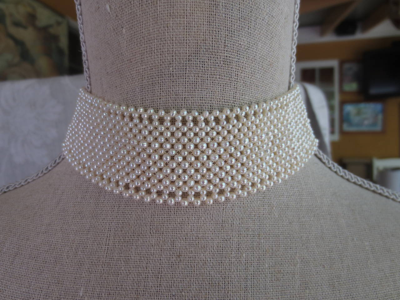 Women's Marina J. Woven Pearl Choker Necklace For Sale