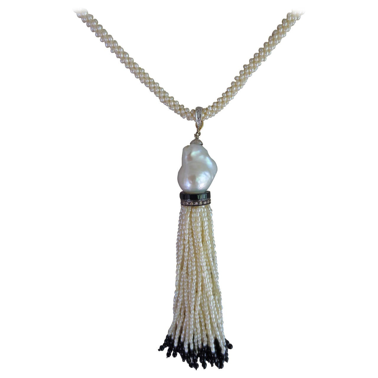 Marina J Seed Pearl Long Rope-Like Sautoir Necklace with Tassel