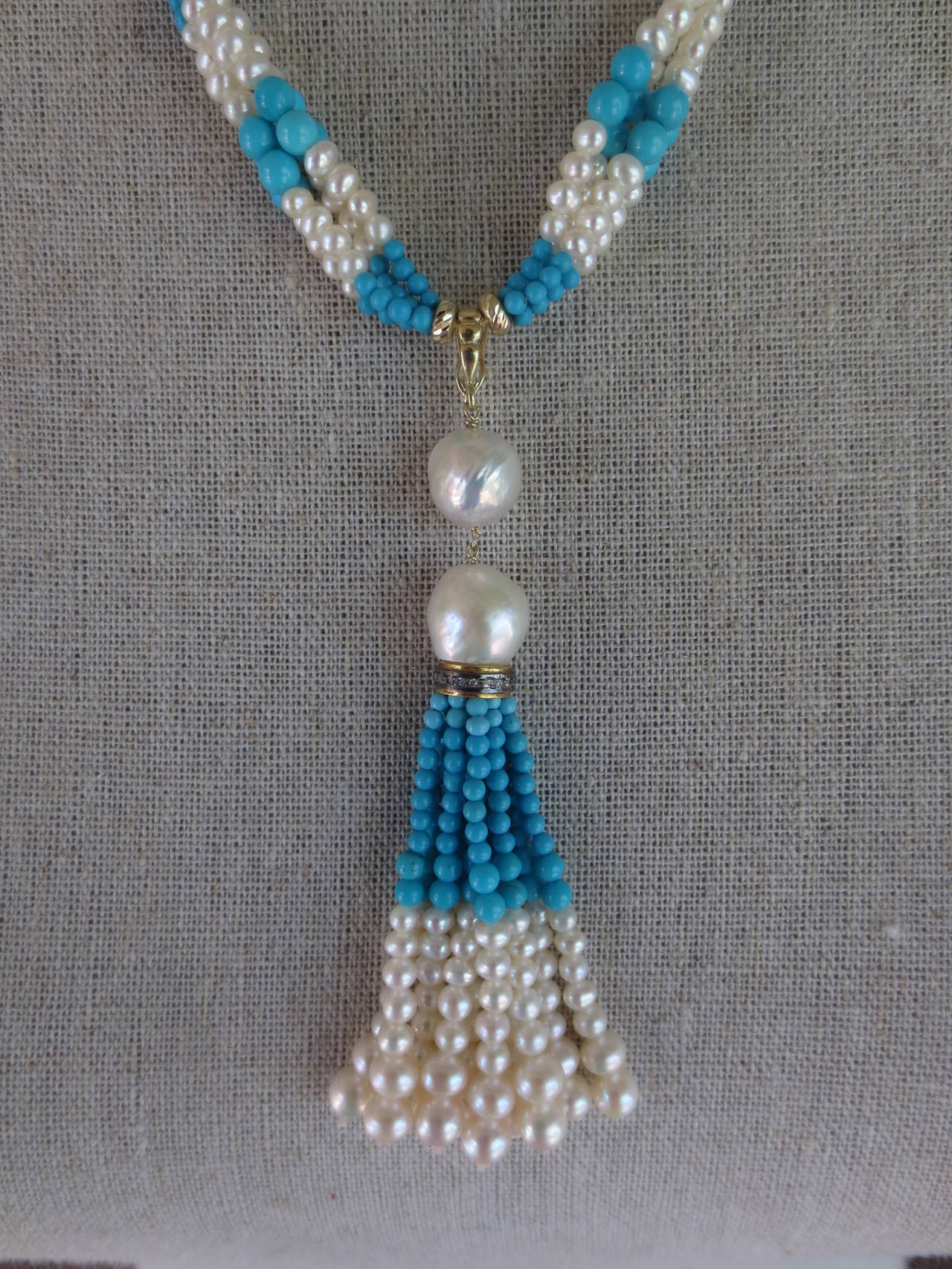 Woven Cluster Pearl and Turquoise Sautoir with Baroque Pearl Highlights 7