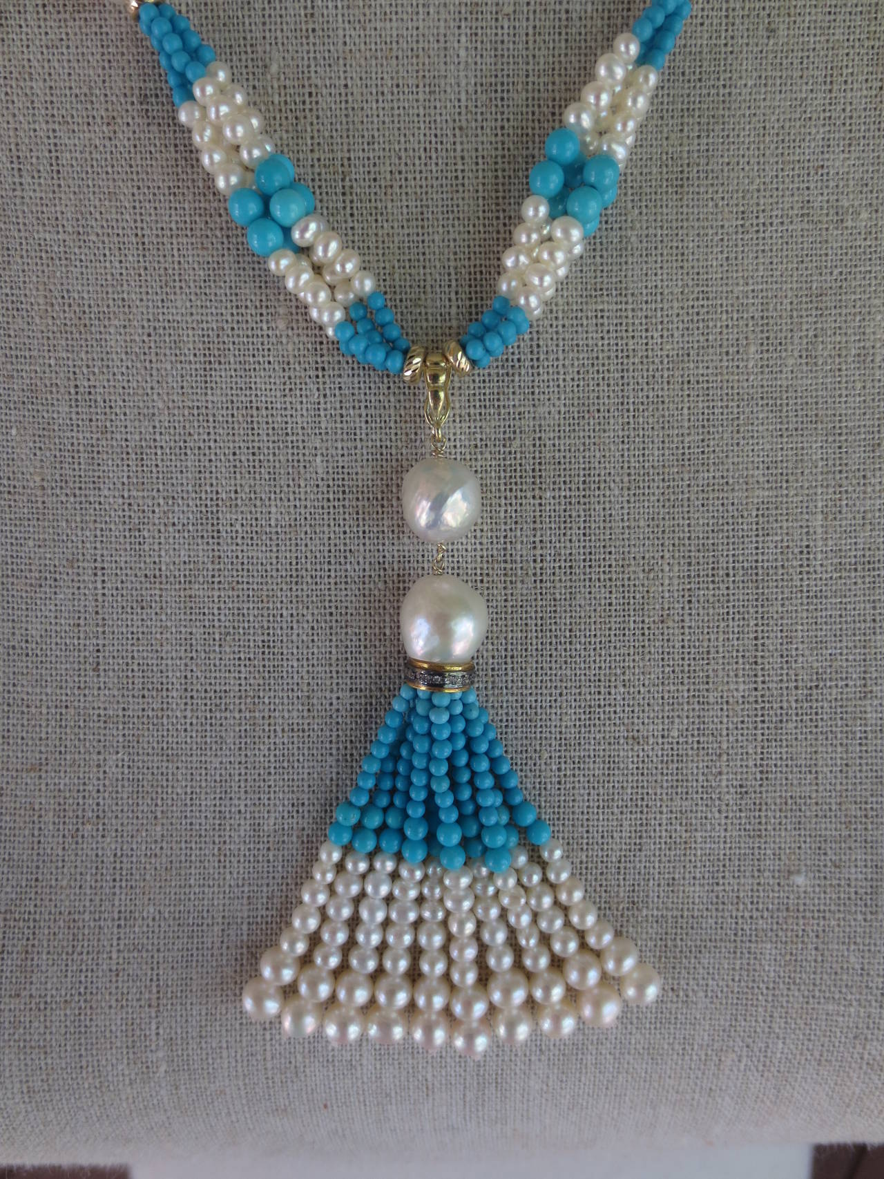 Woven Cluster Pearl and Turquoise Sautoir with Baroque Pearl Highlights 3