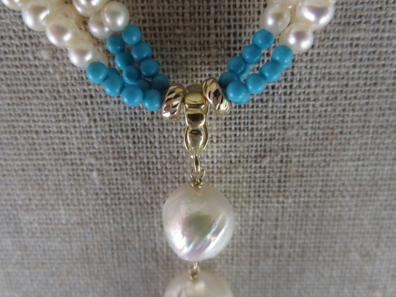 Woven Cluster Pearl and Turquoise Sautoir with Baroque Pearl Highlights 4