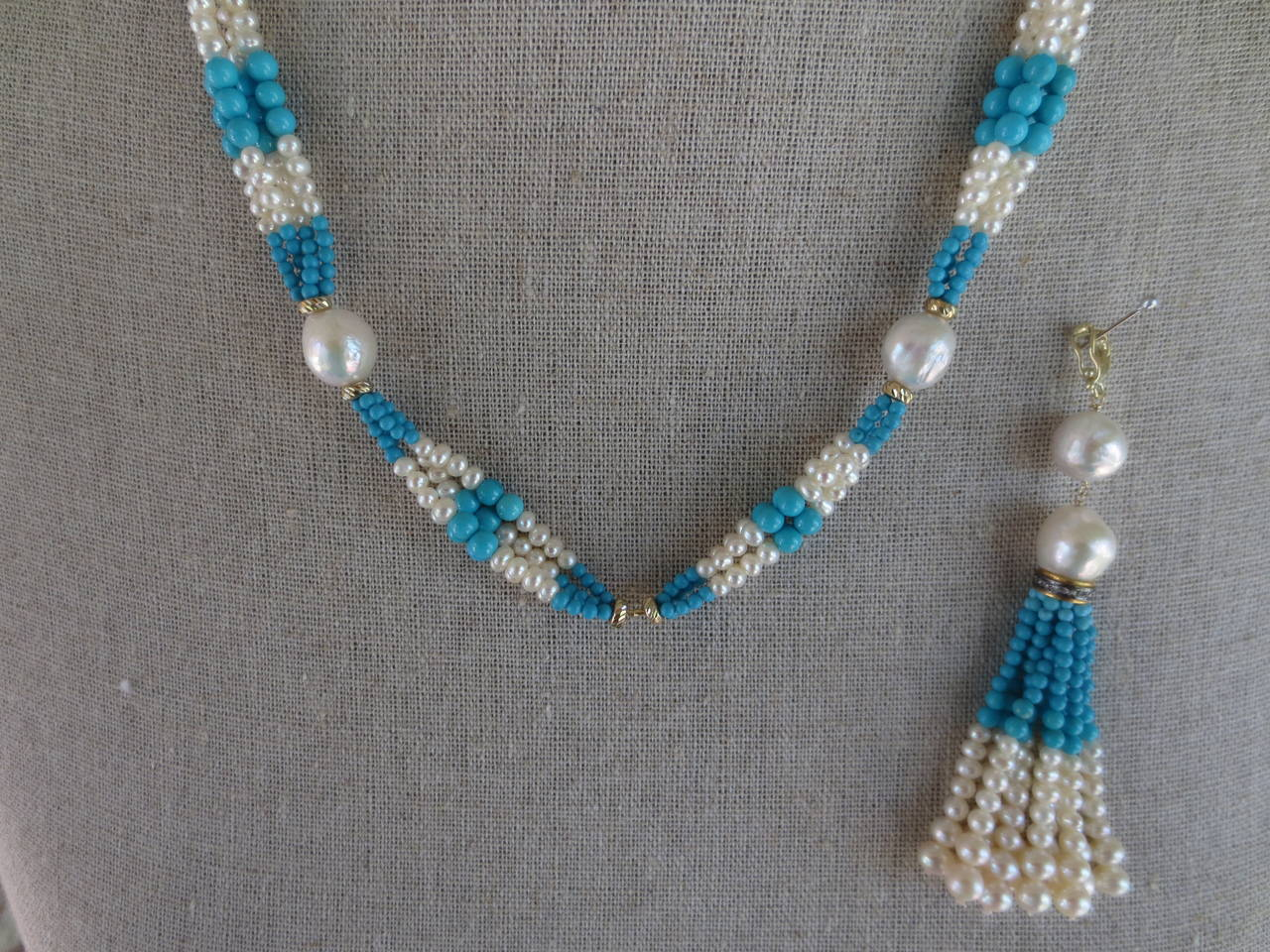 Woven Cluster Pearl and Turquoise Sautoir with Baroque Pearl Highlights 8