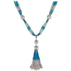 Woven Cluster Pearl and Turquoise Sautoir with Baroque Pearl Highlights