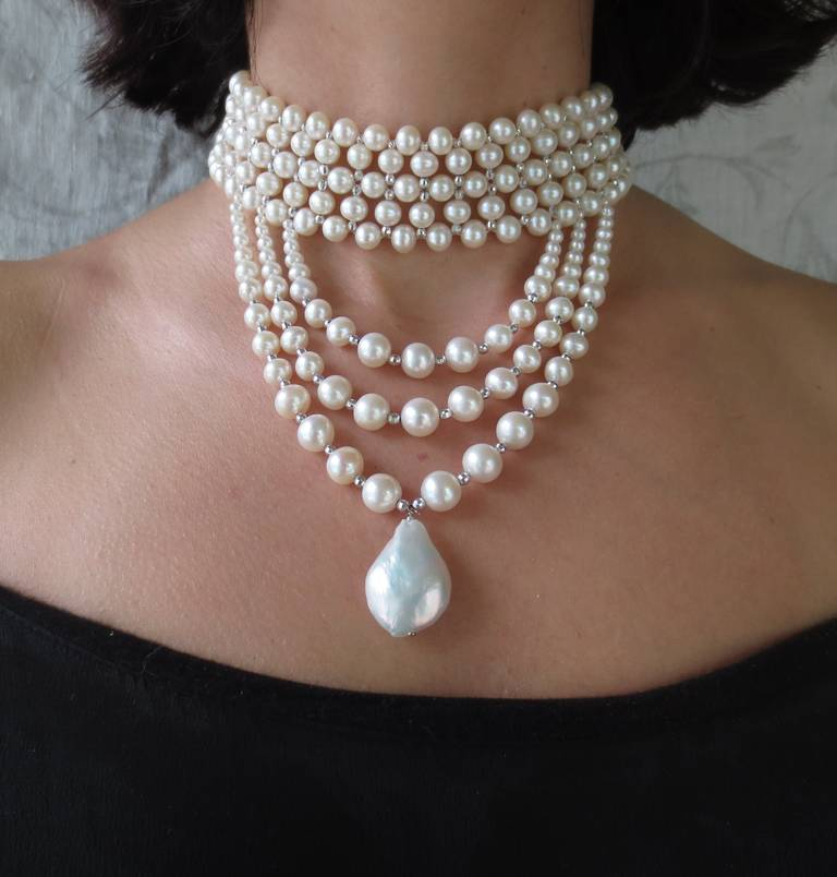 Woven Pearl Draped Choker with Sliding Clasp and Large Baroque Pearl 7