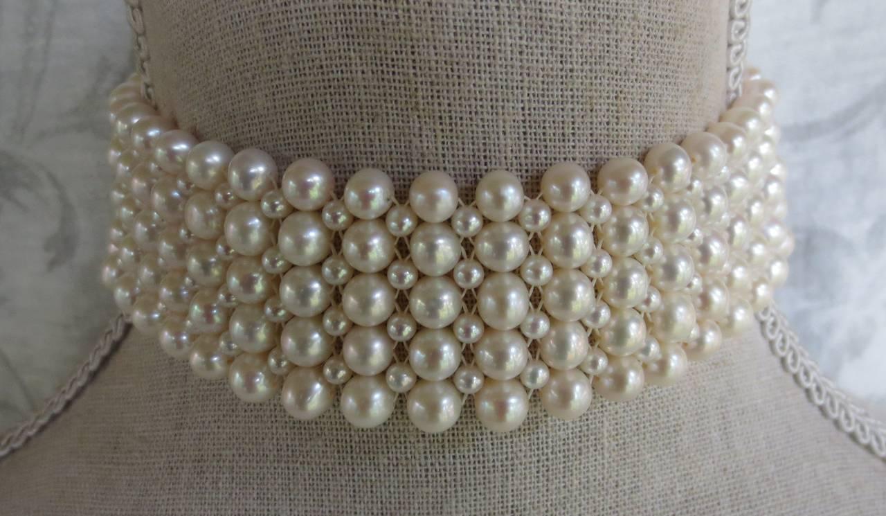 Contemporary Multi-strand Woven Pearl Choker For Sale