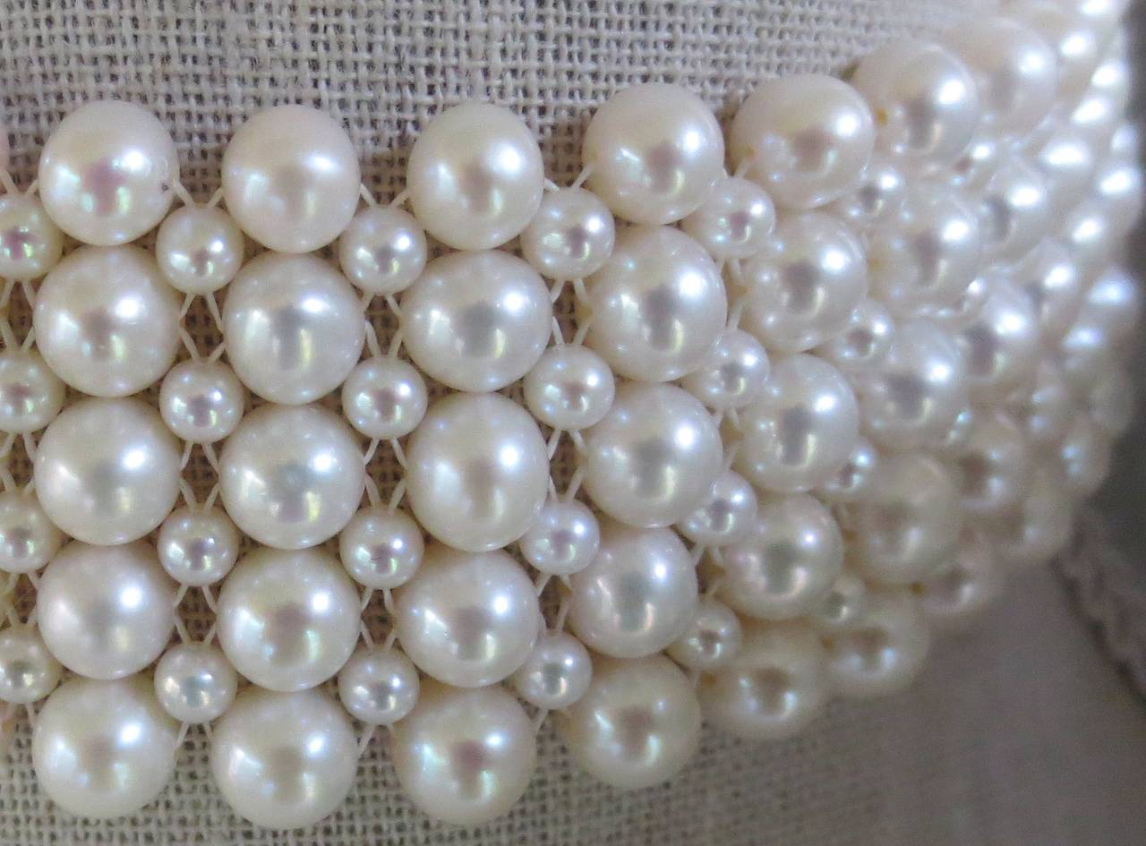 Multi-strand Woven Pearl Choker In As New Condition For Sale In Beverly Hills, CA