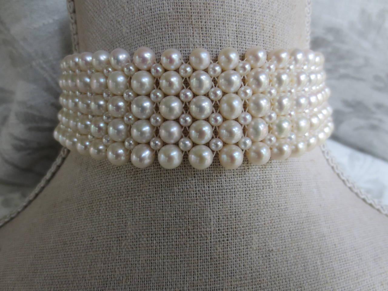 Women's Multi-strand Woven Pearl Choker For Sale