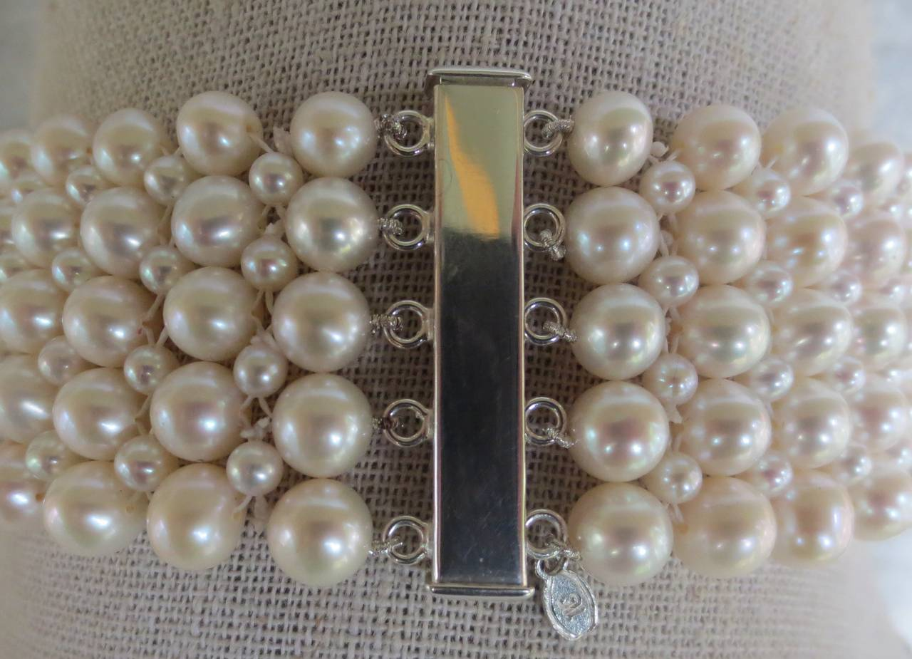 Multi-strand Woven Pearl Choker For Sale 1