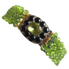 Woven Faceted Peridot Bracelet with Peridot, Onyx and Gold Vintage Clasp