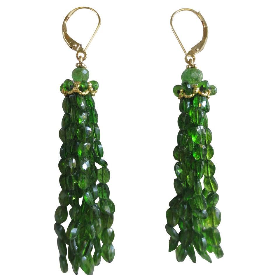 green tsavorite tassel earrings at 1stdibs