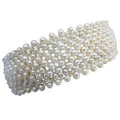 Seed Pearl Multi-Strand Woven Bracelet with 14 Karat White Gold Vintage Clasp