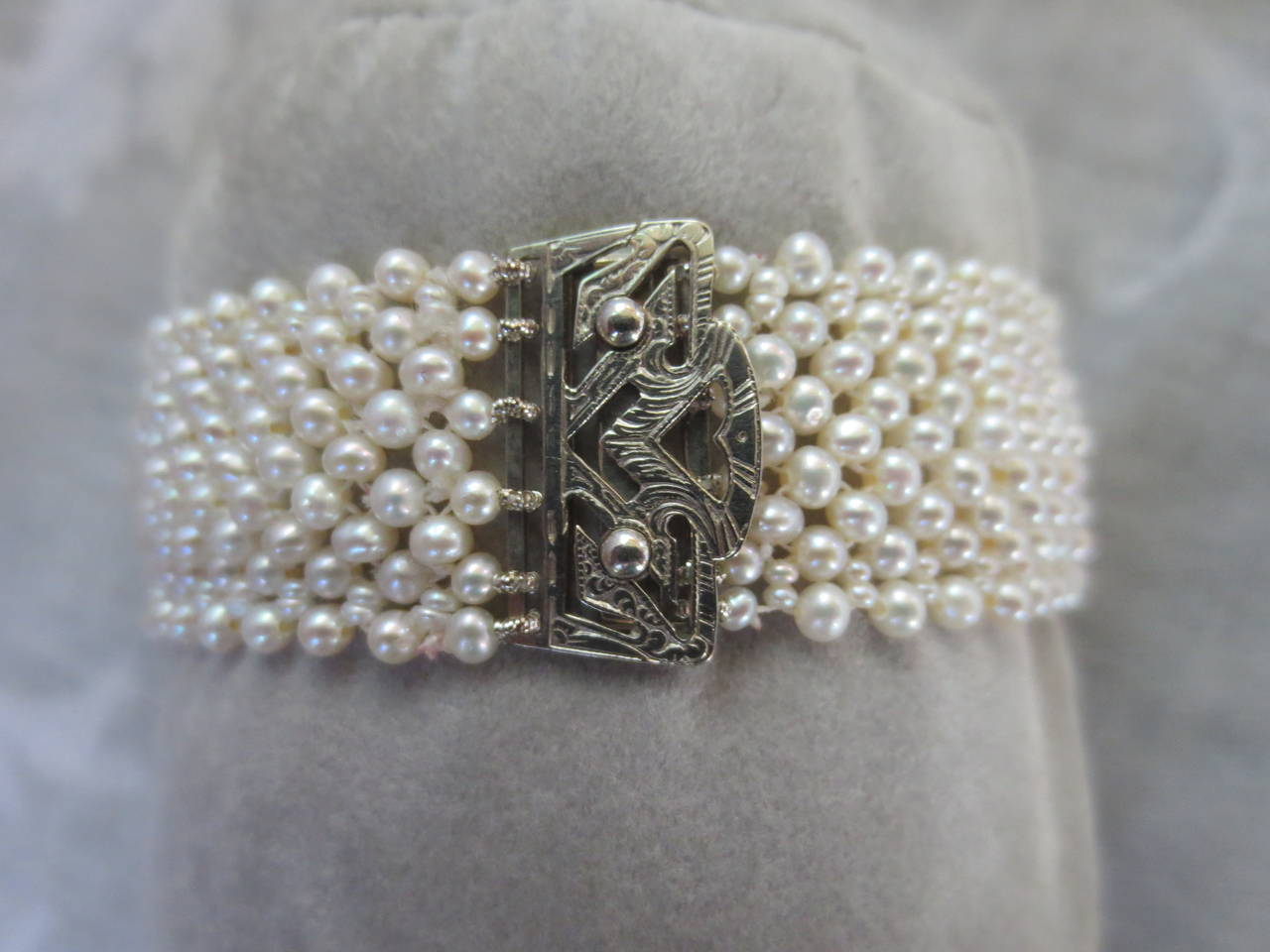 Intricately Woven Cultured White Pearl Bracelet With Unique Antique 14 K Gold Clasp Seed