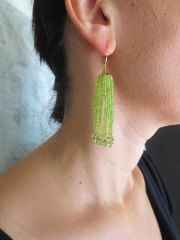Elegant Green Peridot Tassel Earrings 2
