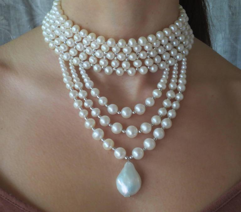 Woven Pearl Draped Choker with Sliding Clasp and Large Baroque Pearl 6