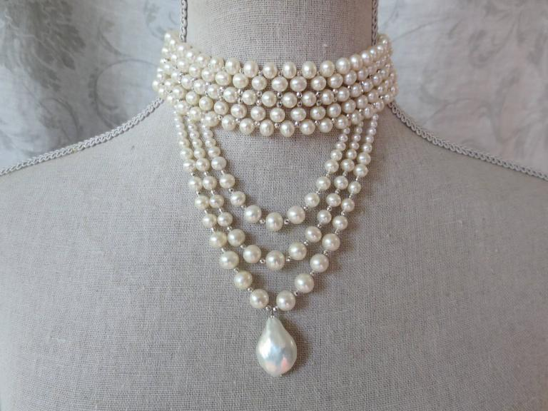 Woven Pearl Draped Choker with Sliding Clasp and Large Baroque Pearl 4