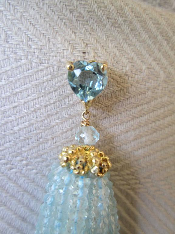 Aquamarine Tassel Earrings with Gold Cup By Marina J. 2016 In As New Condition For Sale In Beverly Hills, CA