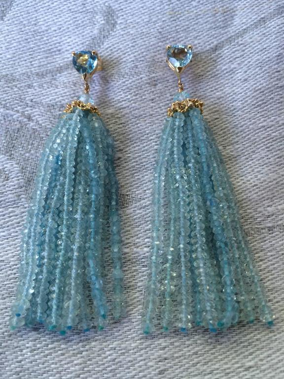 Aquamarine Tassel Earrings with Gold Cup By Marina J. 2016 For Sale 1
