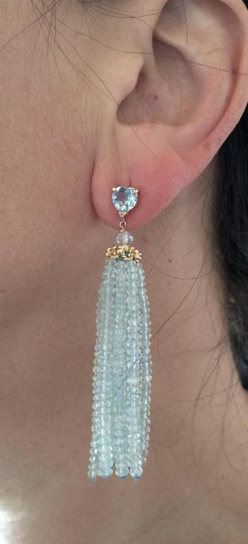 Aquamarine Tassel Earrings with Gold Cup By Marina J. 2016 For Sale 2