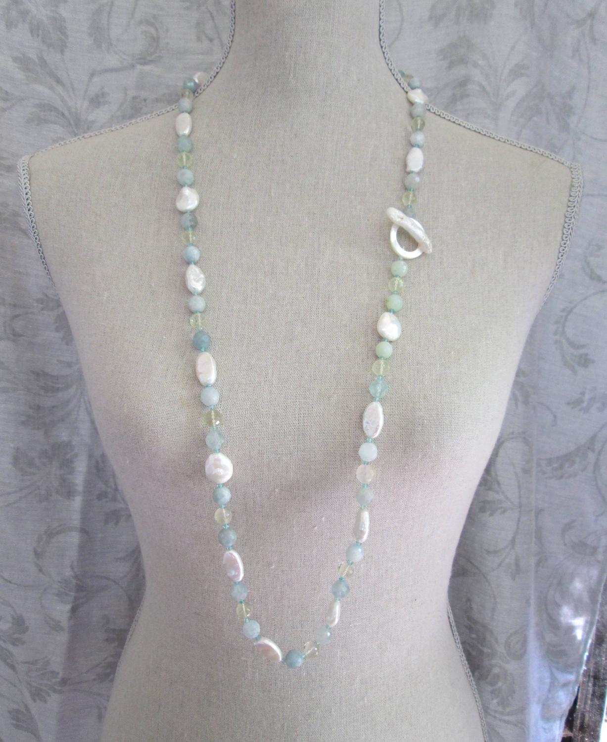 Instyle Decor Com Beverly Hills Beautiful Mother Of Pearl: Pearl And Multi-Gemstone Long Lariat Necklace For Sale At