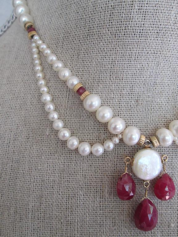 Late Victorian Pearl Draped Necklace with Ruby Briolettes For Sale