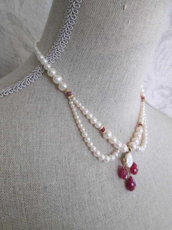 Pearl Draped Necklace with Ruby Briolettes In As New Condition For Sale In Beverly Hills, CA