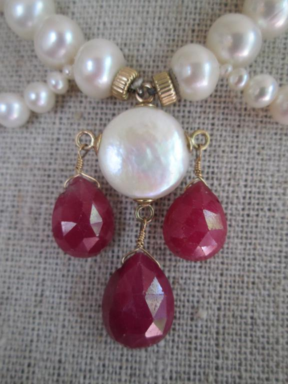 Women's Pearl Draped Necklace with Ruby Briolettes For Sale