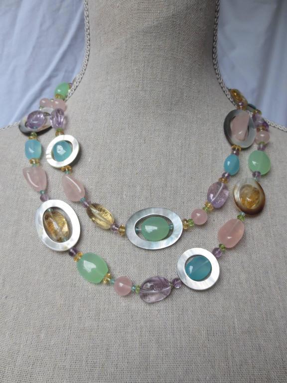 Multicolor Semi Precious Stone Bead Long Necklace With
