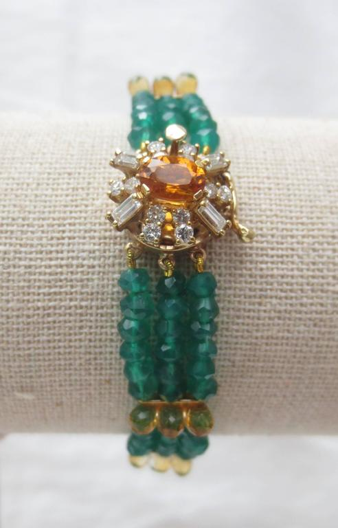 Artist Diamonds, Citrine and 14 Karat Gold Clasp with Faceted Green Onyx Beads Bracelet For Sale