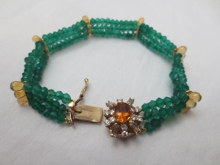 Diamonds, Citrine and 14 Karat Gold Clasp with Faceted Green Onyx Beads Bracelet In As new Condition For Sale In Beverly Hills, CA