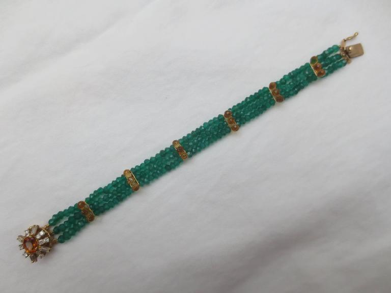 Diamonds, Citrine and 14 Karat Gold Clasp with Faceted Green Onyx Beads Bracelet For Sale 1