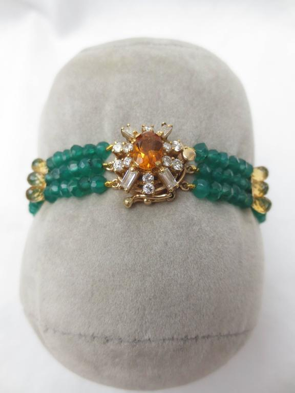 Women's Diamonds, Citrine and 14 Karat Gold Clasp with Faceted Green Onyx Beads Bracelet For Sale