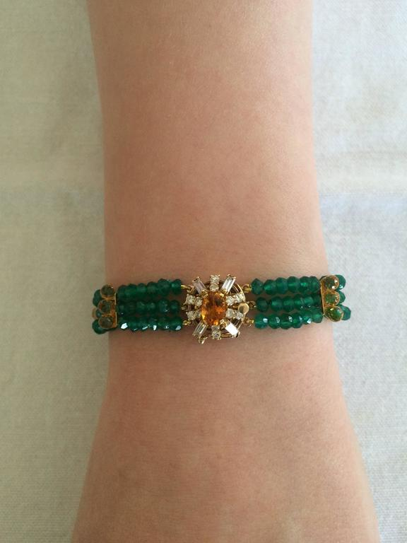 Diamonds, Citrine and 14 Karat Gold Clasp with Faceted Green Onyx Beads Bracelet For Sale 2