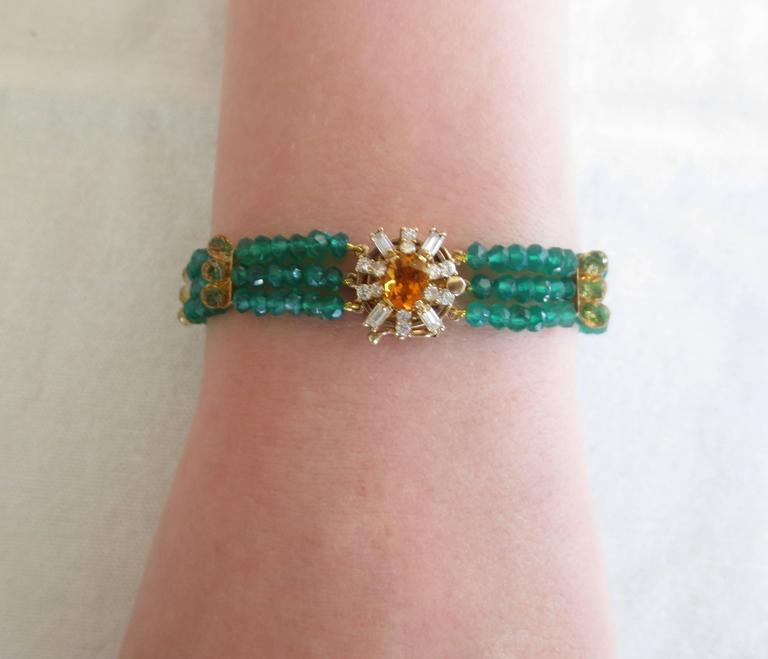 Diamonds, Citrine and 14 Karat Gold Clasp with Faceted Green Onyx Beads Bracelet For Sale 3
