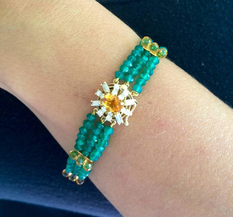 Diamonds, Citrine and 14 Karat Gold Clasp with Faceted Green Onyx Beads Bracelet For Sale 4