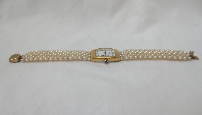 Hamilton Ladies Yellow Gold Woven Multi Strand Pearl Band Wristwatch,by Marina J For Sale 3