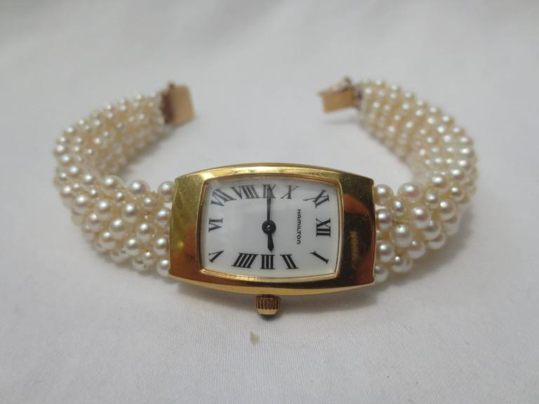 Hamilton Ladies Yellow Gold Woven Multi Strand Pearl Band Wristwatch,by Marina J In New Condition For Sale In Beverly Hills, CA
