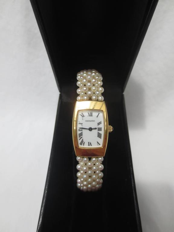 Hamilton Ladies Yellow Gold Woven Multi Strand Pearl Band Wristwatch,by Marina J For Sale 4