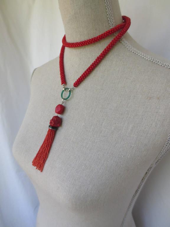 Multi-Strand Woven Coral Bead Tassel Sautoir Necklace 2