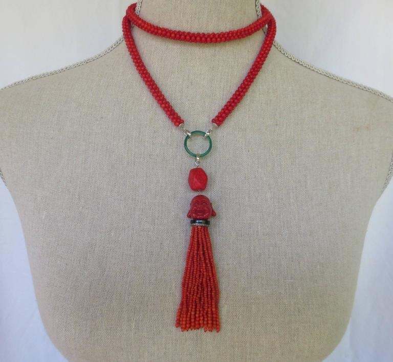Multi-Strand Woven Coral Bead Tassel Sautoir Necklace 4