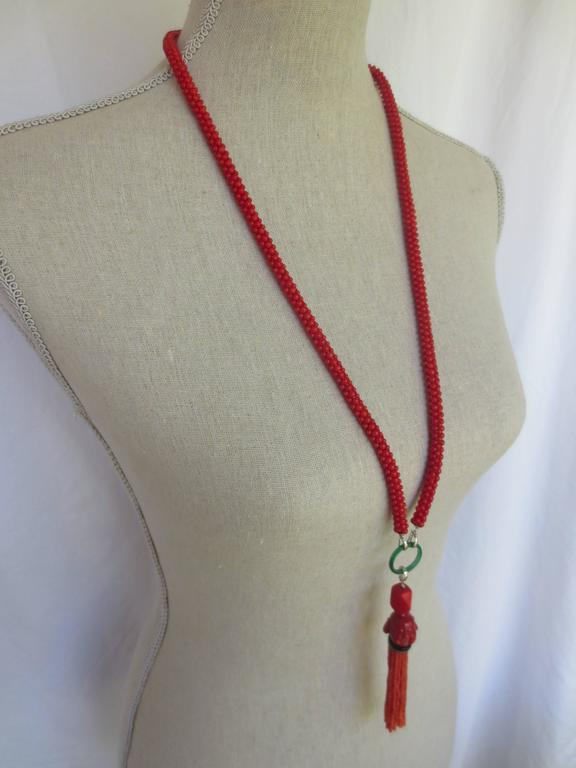 Multi-Strand Woven Coral Bead Tassel Sautoir Necklace 5