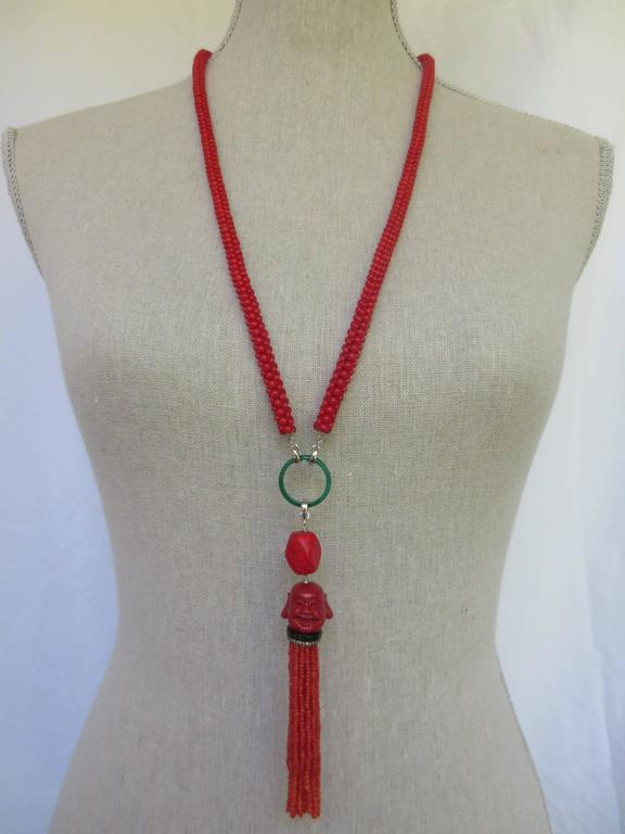 Multi-Strand Woven Coral Bead Tassel Sautoir Necklace 6