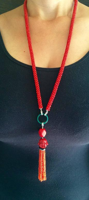 Multi-Strand Woven Coral Bead Tassel Sautoir Necklace 8